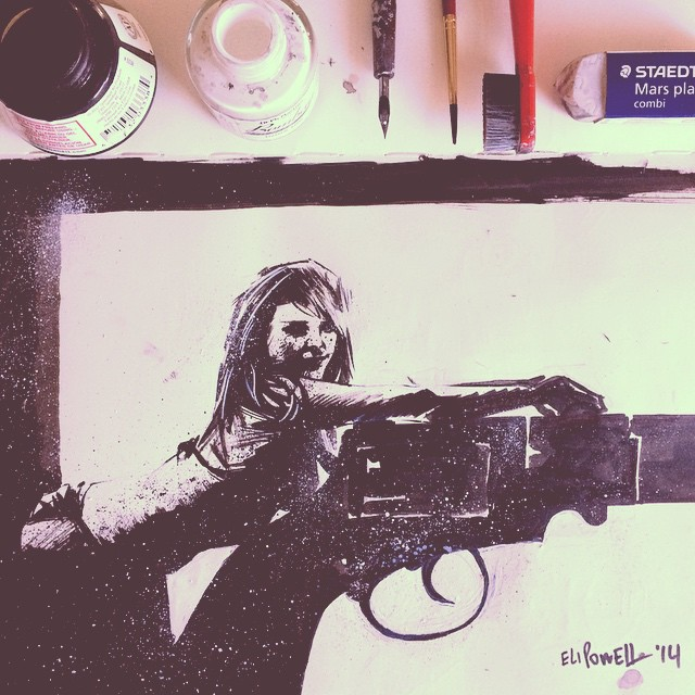 Sexy creepy girl leaning on a gun sketch by Eli Powell