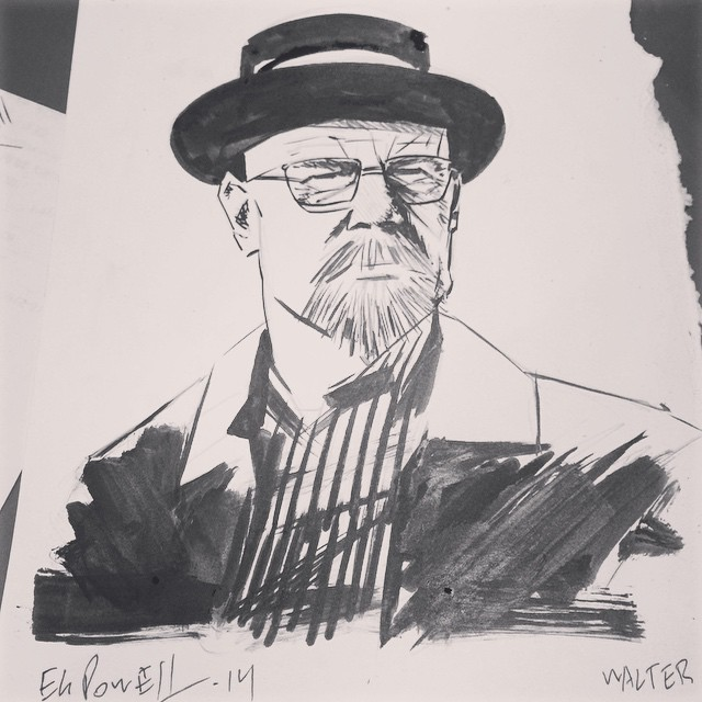 Ink sketch of Walter White from Breaking Bad by Eli Powell