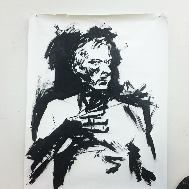 old man ink sketch by Eli Powell