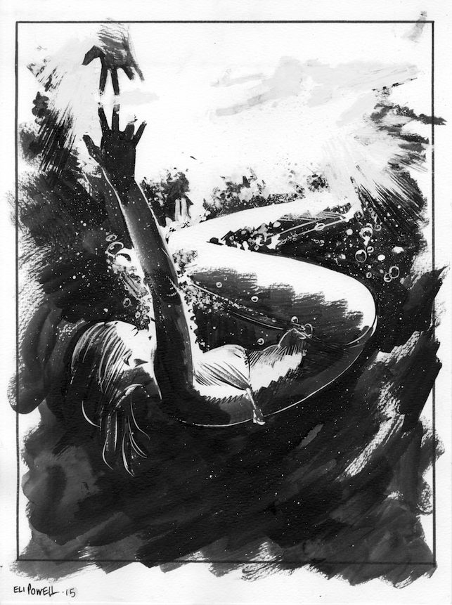 Submerged ink sketch by Eli Powell