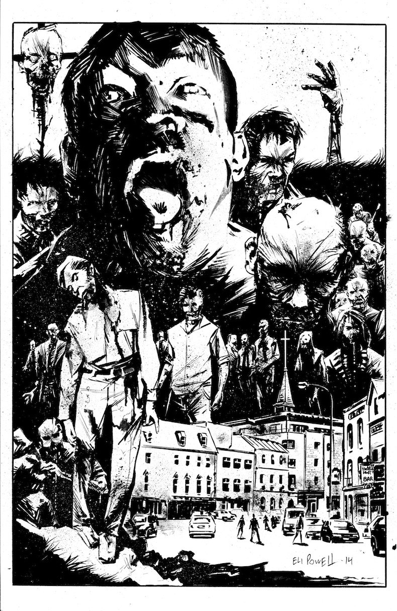 Zombie ink splash page by Eli Powell