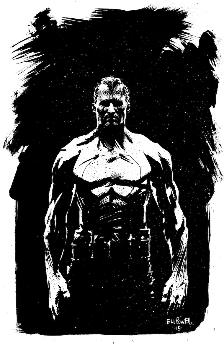 Punisher ink sketch by Eli Powell
