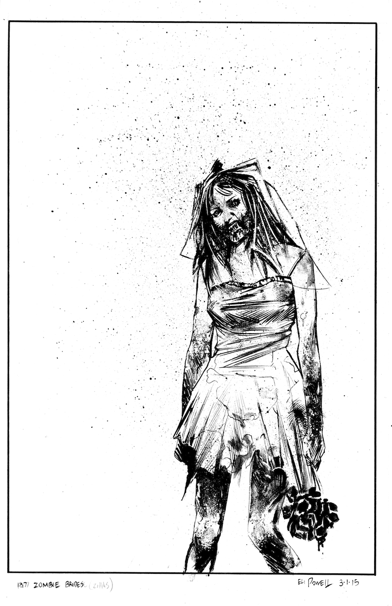 Zombie Bride black and white ink drawing by Eli Powell