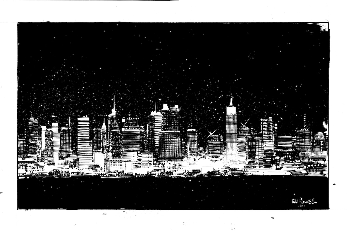 New York City Skyline ink drawing by Eli Powell